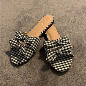 Esprit black gingham flat sandal slides with bow